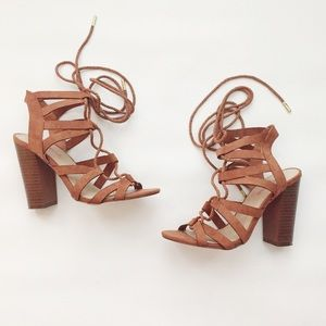 Just Fab Mysty Lace Up Sandal Brown Size 6
